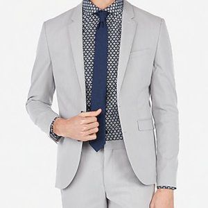 Express Extra Slim Light Gray Stripe Stretch Suit